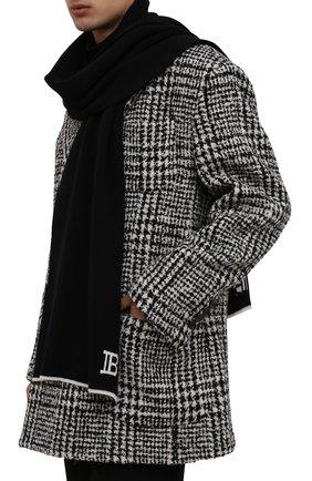 Мужской шарф из шерсти и кашемира BALMAIN черного цвета, арт. WH0XG010/K065   Фото 2 (Материал: Кашемир, Шерсть; Кросс-КТ: шерсть, кашемир)