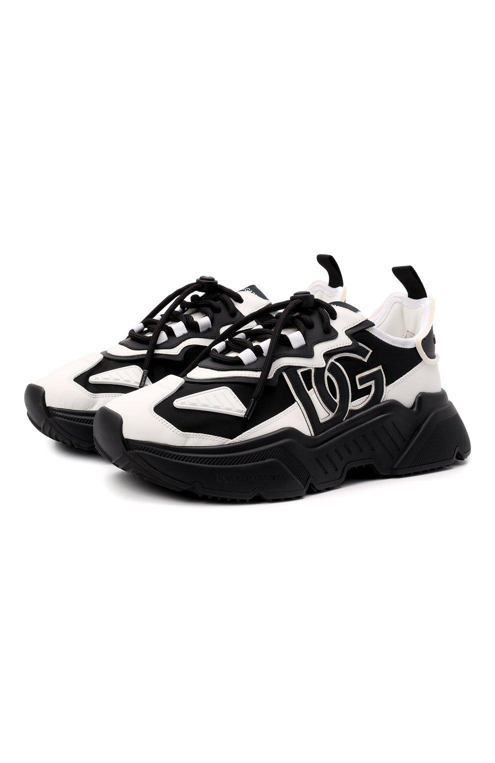Мужские комбинированные кроссовки daymaster DOLCE & GABBANA черно-белого цвета, арт. CS1941/AQ356 | Фото 1 (Материал внешний: Текстиль; Материал внутренний: Натуральная кожа; Стили: Гранж; Подошва: Массивная)