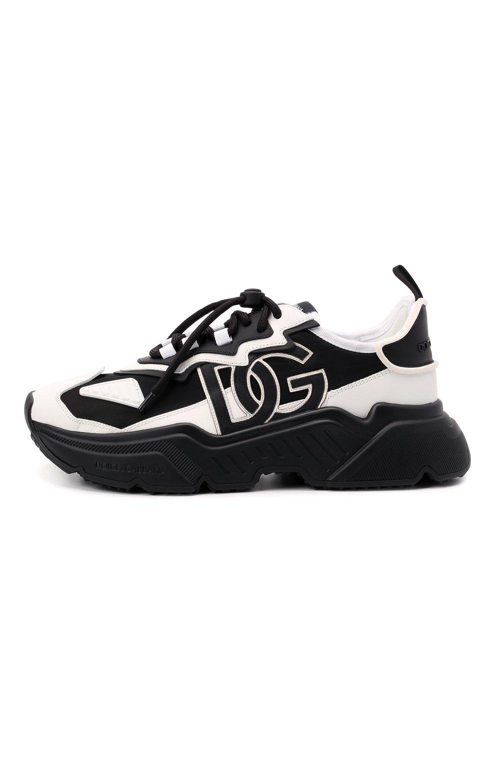 Мужские комбинированные кроссовки daymaster DOLCE & GABBANA черно-белого цвета, арт. CS1941/AQ356 | Фото 3 (Материал внешний: Текстиль; Материал внутренний: Натуральная кожа; Стили: Гранж; Подошва: Массивная)