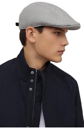 Мужская шерстяное кепи BRUNELLO CUCINELLI светло-серого цвета, арт. M038P9958 | Фото 2 (Материал: Шерсть)
