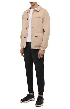 Мужские комбинированные кроссовки trial walk LORO PIANA хаки цвета, арт. FAI8735 | Фото 2 (Подошва: Массивная; Материал внешний: Текстиль; Материал внутренний: Текстиль; Стили: Классический)