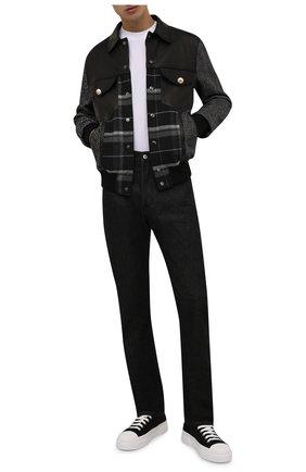 Мужской комбинированный бомбер DOLCE & GABBANA серого цвета, арт. G9UX9T/GES80   Фото 2 (Материал внешний: Шерсть; Материал подклада: Вискоза; Кросс-КТ: Куртка; Стили: Кэжуэл; Длина (верхняя одежда): Короткие; Принт: С принтом; Рукава: Длинные)
