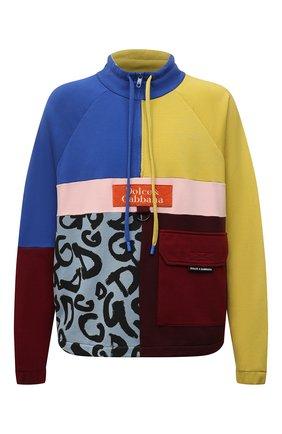 Мужской хлопковая толстовка DOLCE & GABBANA разноцветного цвета, арт. G9VA3Z/G7YSH   Фото 1 (Рукава: Длинные; Материал внешний: Хлопок; Длина (для топов): Стандартные; Мужское Кросс-КТ: свитшот-одежда; Принт: С принтом; Стили: Спорт-шик)