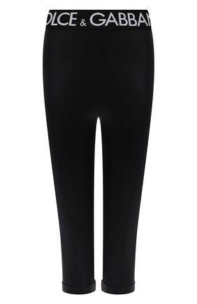 Женские леггинсы DOLCE & GABBANA черного цвета, арт. FTB5ST/FUGLE | Фото 1 (Длина (брюки, джинсы): Укороченные; Материал внешний: Синтетический материал; Стили: Спорт-шик; Женское Кросс-КТ: Леггинсы-одежда, Леггинсы-спорт)