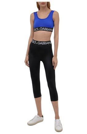 Женские леггинсы DOLCE & GABBANA черного цвета, арт. FTB5ST/FUGLE | Фото 2 (Длина (брюки, джинсы): Укороченные; Материал внешний: Синтетический материал; Стили: Спорт-шик; Женское Кросс-КТ: Леггинсы-одежда, Леггинсы-спорт)