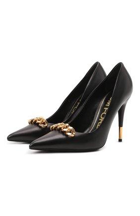 Женские кожаные туфли TOM FORD черного цвета, арт. W2992T-LSP002 | Фото 1 (Подошва: Плоская; Каблук высота: Высокий; Материал внутренний: Натуральная кожа; Каблук тип: Шпилька)