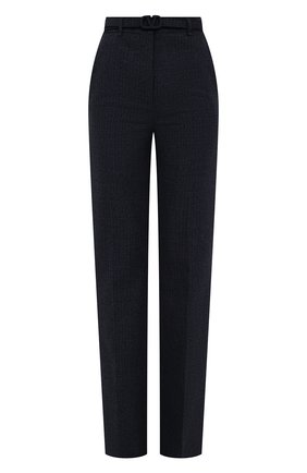 Женские шерстяные брюки VALENTINO темно-синего цвета, арт. WB3RB4D56JK   Фото 1 (Длина (брюки, джинсы): Удлиненные; Материал внешний: Шерсть; Стили: Кэжуэл; Женское Кросс-КТ: Брюки-одежда; Силуэт Ж (брюки и джинсы): Прямые)