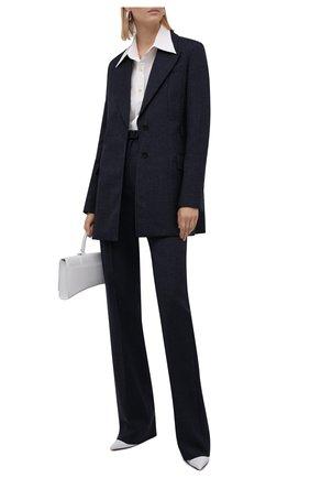 Женские шерстяные брюки VALENTINO темно-синего цвета, арт. WB3RB4D56JK   Фото 2 (Длина (брюки, джинсы): Удлиненные; Материал внешний: Шерсть; Стили: Кэжуэл; Женское Кросс-КТ: Брюки-одежда; Силуэт Ж (брюки и джинсы): Прямые)