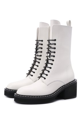 Женские кожаные ботинки cody KHAITE белого цвета, арт. F1022-722/C0DY | Фото 1 (Подошва: Платформа; Женское Кросс-КТ: Военные ботинки; Материал внутренний: Натуральная кожа; Каблук высота: Средний; Каблук тип: Устойчивый)