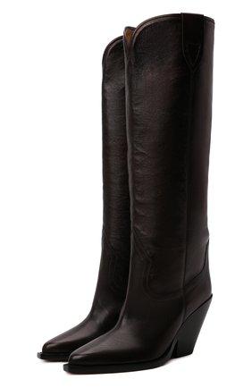 Женские кожаные сапоги lomero ISABEL MARANT темно-коричневого цвета, арт. L0MER0/BT0234-21H012S   Фото 1 (Высота голенища: Средние; Каблук высота: Высокий; Материал внутренний: Натуральная кожа; Подошва: Плоская; Каблук тип: Устойчивый)