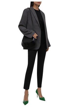 Женские шерстяные брюки DOLCE & GABBANA темно-серого цвета, арт. FTAM2T/FQBAL | Фото 2 (Материал внешний: Шерсть; Длина (брюки, джинсы): Стандартные; Стили: Кэжуэл; Женское Кросс-КТ: Брюки-одежда; Силуэт Ж (брюки и джинсы): Прямые)