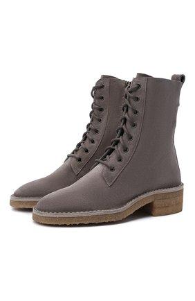 Женские замшевые ботинки edith CHLOÉ серого цвета, арт. CHC21W540V5 | Фото 1 (Материал внутренний: Натуральная кожа; Каблук тип: Устойчивый; Женское Кросс-КТ: Военные ботинки; Каблук высота: Низкий; Подошва: Платформа; Материал внешний: Замша)