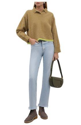 Женские замшевые ботинки edith CHLOÉ серого цвета, арт. CHC21W540V5 | Фото 2 (Материал внутренний: Натуральная кожа; Каблук тип: Устойчивый; Женское Кросс-КТ: Военные ботинки; Каблук высота: Низкий; Подошва: Платформа; Материал внешний: Замша)