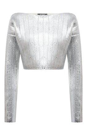 Женский пуловер BALMAIN серебряного цвета, арт. WF0KA020/K334 | Фото 1 (Материал внешний: Лиоцелл, Шерсть; Длина (для топов): Укороченные; Рукава: Длинные; Стили: Гламурный; Кросс-КТ: Трикотаж; Женское Кросс-КТ: Пуловер-одежда)