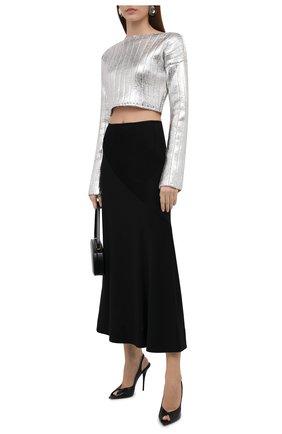 Женский пуловер BALMAIN серебряного цвета, арт. WF0KA020/K334 | Фото 2 (Материал внешний: Лиоцелл, Шерсть; Длина (для топов): Укороченные; Рукава: Длинные; Стили: Гламурный; Кросс-КТ: Трикотаж; Женское Кросс-КТ: Пуловер-одежда)