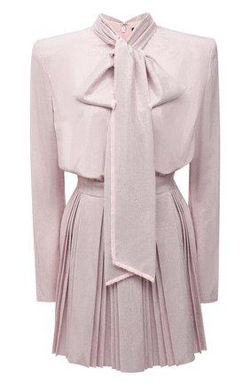 Женское шелковое платье с отделкой стразами BALMAIN светло-розового цвета, арт. WF1R9430/A106   Фото 1 (Длина Ж (юбки, платья, шорты): Мини; Материал внешний: Шелк; Рукава: Длинные; Материал подклада: Шелк; Стили: Гламурный; Случай: Вечерний; Женское Кросс-КТ: Платье-одежда)