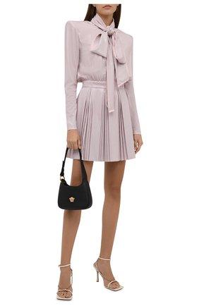 Женское шелковое платье с отделкой стразами BALMAIN светло-розового цвета, арт. WF1R9430/A106   Фото 2 (Длина Ж (юбки, платья, шорты): Мини; Материал внешний: Шелк; Рукава: Длинные; Материал подклада: Шелк; Стили: Гламурный; Случай: Вечерний; Женское Кросс-КТ: Платье-одежда)