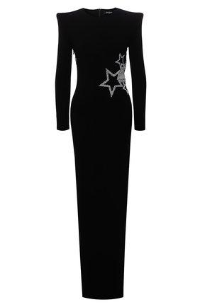 Женское платье из вискозы BALMAIN черного цвета, арт. WF1RR000/P087   Фото 1 (Длина Ж (юбки, платья, шорты): Макси; Рукава: Длинные; Материал внешний: Вискоза; Материал подклада: Вискоза; Стили: Гламурный; Случай: Вечерний; Женское Кросс-КТ: платье-футляр)