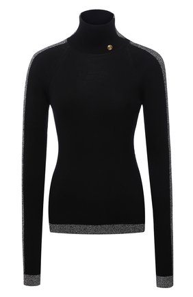 Женская водолазка balmain x rossignol BALMAIN черного цвета, арт. WF2KH006/K345   Фото 1 (Материал внешний: Шерсть; Рукава: Длинные; Длина (для топов): Стандартные; Стили: Кэжуэл; Женское Кросс-КТ: Водолазка-одежда)