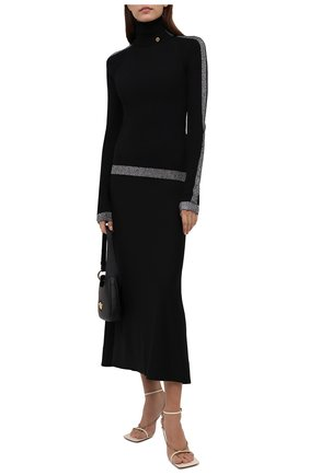 Женская водолазка balmain x rossignol BALMAIN черного цвета, арт. WF2KH006/K345   Фото 2 (Материал внешний: Шерсть; Рукава: Длинные; Длина (для топов): Стандартные; Стили: Кэжуэл; Женское Кросс-КТ: Водолазка-одежда)