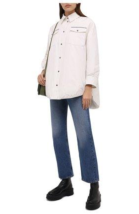 Женская пуховая куртка BRUNELLO CUCINELLI белого цвета, арт. MB5749780 | Фото 2 (Длина (верхняя одежда): До середины бедра; Материал утеплителя: Пух и перо; Материал подклада: Синтетический материал; Материал внешний: Синтетический материал, Хлопок; Рукава: Длинные; Стили: Кэжуэл; Кросс-КТ: Куртка; Женское Кросс-КТ: Пуховик-куртка)