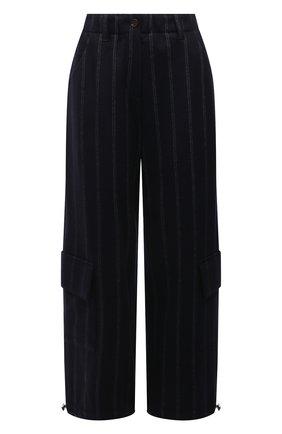 Женские брюки из шерсти и хлопка BRUNELLO CUCINELLI темно-серого цвета, арт. MD926P7785 | Фото 1 (Материал внешний: Шерсть; Длина (брюки, джинсы): Стандартные; Стили: Кэжуэл; Женское Кросс-КТ: Брюки-одежда; Силуэт Ж (брюки и джинсы): Широкие)