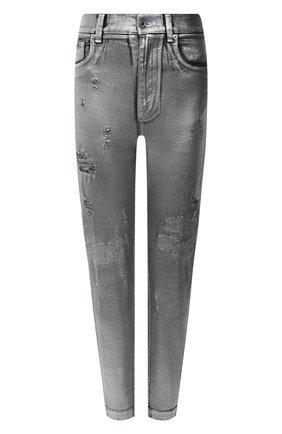 Женские джинсы DOLCE & GABBANA серебряного цвета, арт. FTBXGD/G902Z | Фото 1 (Длина (брюки, джинсы): Стандартные; Материал внешний: Хлопок; Стили: Гламурный; Кросс-КТ: Деним; Силуэт Ж (брюки и джинсы): Скинни)