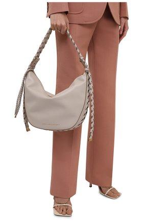 Женская сумка mackintosh medium STELLA MCCARTNEY светло-серого цвета, арт. 700234/W8775 | Фото 2 (Материал: Текстиль, Экокожа; Размер: medium; Сумки-технические: Сумки top-handle; Ремень/цепочка: На ремешке)