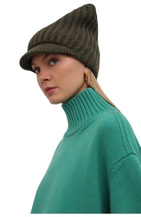 Женская шапка из шерсти и кашемира STELLA MCCARTNEY хаки цвета, арт. 604031/S2273 | Фото 2 (Материал: Шерсть, Кашемир)