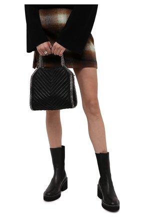 Женский сумка-тоут falabella mini STELLA MCCARTNEY черного цвета, арт. 371223/W8859 | Фото 2 (Ремень/цепочка: На ремешке; Материал: Текстиль; Размер: mini; Сумки-технические: Сумки-шопперы)