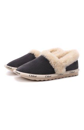 Женского домашние туфли из замши woody CHLOÉ серого цвета, арт. CHC21W54238   Фото 1 (Материал утеплителя: Натуральный мех; Подошва: Платформа)
