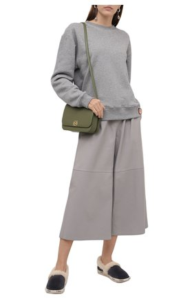 Женского домашние туфли из замши woody CHLOÉ серого цвета, арт. CHC21W54238   Фото 2 (Материал утеплителя: Натуральный мех; Подошва: Платформа)