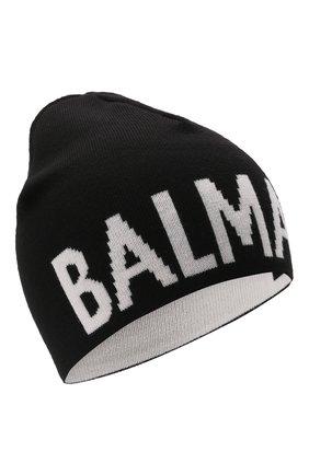 Детского шерстяная шапка BALMAIN черного цвета, арт. 6P0707 | Фото 1 (Материал: Шерсть)