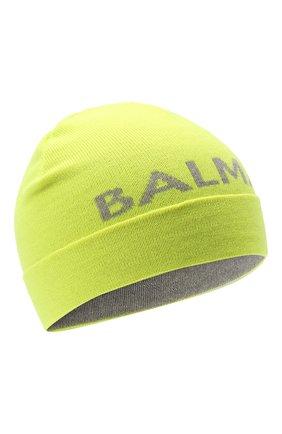 Детского шерстяная шапка BALMAIN желтого цвета, арт. 6P0767 | Фото 1 (Материал: Шерсть)