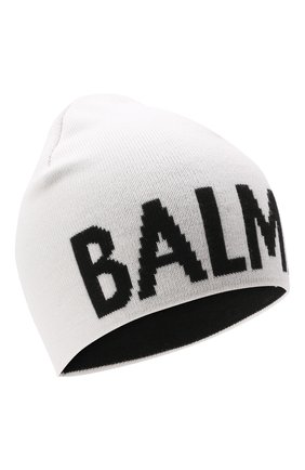 Детского шерстяная шапка BALMAIN белого цвета, арт. 6P0707 | Фото 1 (Материал: Шерсть)