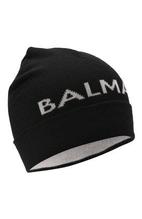 Детского шерстяная шапка BALMAIN черного цвета, арт. 6P0767 | Фото 1 (Материал: Шерсть)