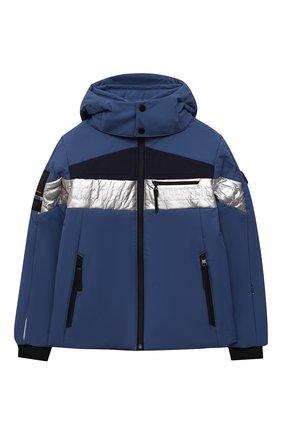 Детского куртка с капюшоном POIVRE BLANC синего цвета, арт. 287037 | Фото 1 (Рукава: Длинные; Материал внешний: Синтетический материал; Кросс-КТ: Ветровка, Сезон: демисезон)