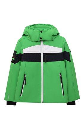 Детского куртка с капюшоном POIVRE BLANC зеленого цвета, арт. 287037 | Фото 1 (Рукава: Длинные; Материал внешний: Синтетический материал; Кросс-КТ: Ветровка, Сезон: демисезон)