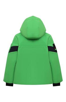Детского куртка с капюшоном POIVRE BLANC зеленого цвета, арт. 287037 | Фото 2 (Рукава: Длинные; Материал внешний: Синтетический материал; Кросс-КТ: Ветровка, Сезон: демисезон)