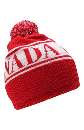Детского шерстяная шапка CANADA GOOSE красного цвета, арт. 6959K   Фото 1 (Материал: Шерсть)