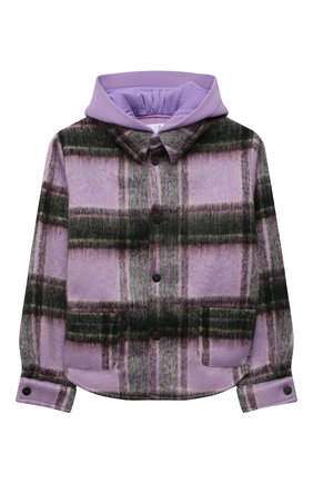 Детское шерстяная куртка NATASHA ZINKO фиолетового цвета, арт. FW21MNZ402-70/10-14 | Фото 1 (Материал внешний: Синтетический материал, Шерсть; Рукава: Длинные; Материал подклада: Хлопок)