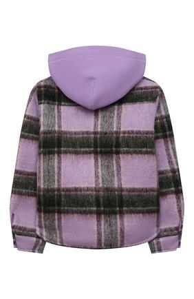 Детское шерстяная куртка NATASHA ZINKO фиолетового цвета, арт. FW21MNZ402-70/10-14 | Фото 2 (Материал внешний: Синтетический материал, Шерсть; Рукава: Длинные; Материал подклада: Хлопок)
