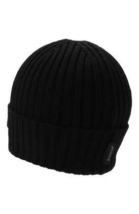 Детского шерстяная шапка MONCLER черного цвета, арт. G2-954-9Z749-20-M1131   Фото 2 (Материал: Шерсть)