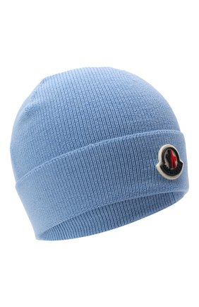Детского шерстяная шапка MONCLER голубого цвета, арт. G2-954-9Z731-00-A9632   Фото 1 (Материал: Синтетический материал, Текстиль, Шерсть)