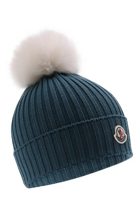 Детского шерстяная шапка MONCLER голубого цвета, арт. G2-954-3B726-10-04S01   Фото 1 (Материал: Шерсть)