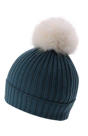 Детского шерстяная шапка MONCLER голубого цвета, арт. G2-954-3B726-10-04S01   Фото 2 (Материал: Шерсть)