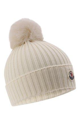 Детского шерстяная шапка MONCLER белого цвета, арт. G2-954-3B726-10-04S01 | Фото 1 (Материал: Шерсть)