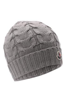 Детского шерстяная шапка MONCLER серого цвета, арт. G2-954-3B715-20-04S02   Фото 1 (Материал: Шерсть)