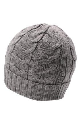 Детского шерстяная шапка MONCLER серого цвета, арт. G2-954-3B715-20-04S02   Фото 2 (Материал: Шерсть)