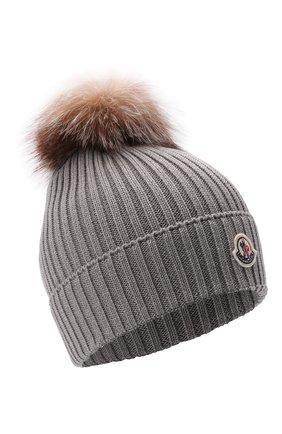 Детского шерстяная шапка с мехом MONCLER светло-серого цвета, арт. G2-954-3B711-10-04S01   Фото 1 (Материал: Шерсть)